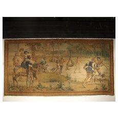 Massive Antique Italian Painted Canvas of a Hunt Scene, 19th Century