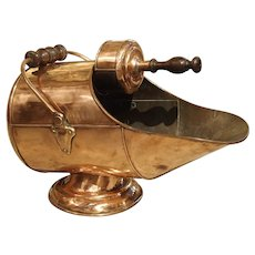 Antique Copper Coal Scuttle From France, Circa 1900