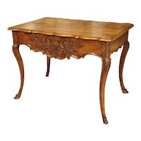 Antique French Regence Style Console Table with Front Drawer and Hoof Feet