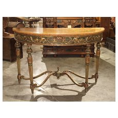 Large 18th Century Painted Italian Demi-Lune Console Table