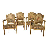 Set of Four Louis XVI Giltwood and Tapestry Fauteuils from France, 18th Century