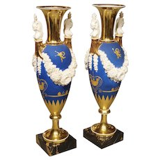 Pair of Neoclassical Paris Porcelain Vases in Royal French Blue, Early 1800's