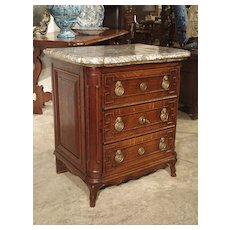 Small Antique French Oak Commode with Marble Top, Circa 1770