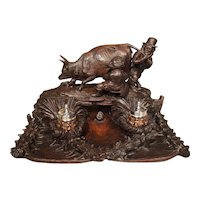 Antique Carved Inkwell, Swiss Milk Cow, Late 19th Century