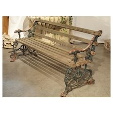 Early 1900's Cast Iron And Wood Bench With Dog Head And Serpent Supports