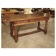 Antique Spanish Single Plank Walnut Wood Table with Carved Drawers, Circa 1600