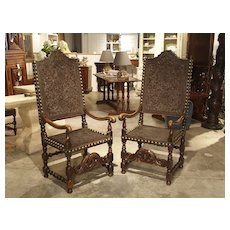 Pair of Large 17th Century Tooled Leather and Oak Armchairs from Spain