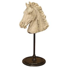 Mounted Cast Stone Horse Head On Iron Base