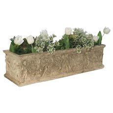 Early 1900's Cast Stone Rectangular Garden Planter