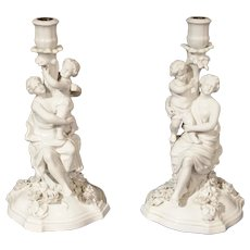 Pair of Decorative Antique Porcelain Candlestick Holders from Germany