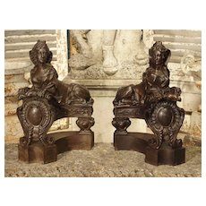 Pair of Late 19th Century French Sphinx Chenets in Cast Iron