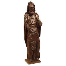 18th Century Carved Oak Statue Depicting St. Bartholomew