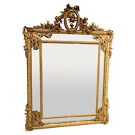 Antique Louis XVI Style Giltwood Parcloses Mirror from France, 1800s