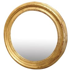 Round Louis Philippe Style Giltwood Mirror from France