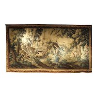 Large 18th Century Wool and Silk Verdure Landscape Tapestry from Flanders