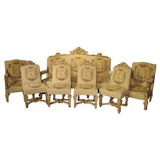Rare Seven-Piece Louis XIV Style Giltwood Chateau Salon Suite from France, Circa 1880