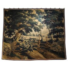 17th Century Wool and Silk Verdure Bleue Tapestry