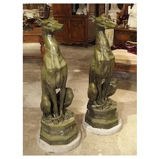 Large Pair of Painted Dog Statues on Stone Bases from France
