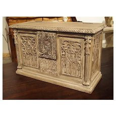 Small Stripped Oak Gothic Trunk from France, Circa 1890