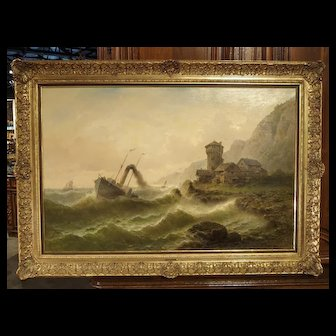 Antique Oil Painting of a Steam Ship in Rough Seas, Albert Rieger 19th Century
