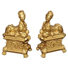 Pair of 19th Century Bronze Dore Sphinx Chenets from France