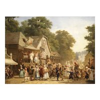 A Celebration in The Village, by Jan Jacob Broos, 1833-1882