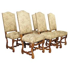 A Set of 6 French Os De Mouton Side Chairs in Carved Beech