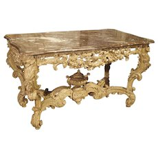Stripped and Parcel Paint French Rococo Style Center Table with Rouge Marble Top