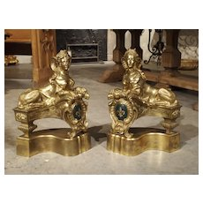 Pair of 19th Century Gilt Bronze Sphinx Chenets with Fleur De Lys Cartouche