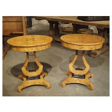 A Pair of Elegant Oval French Burlwood Side Tables