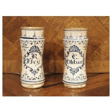 Pair of Blue and White Albarelli Pots from Spain, 18th Century