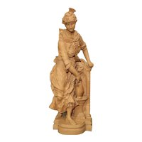 19th Century French Terra Cotta Statue of a Woman at a Fountain