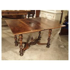 17th Century French Folding Top Walnut Wood Table