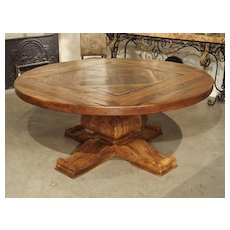 Round French Oak Parquet Dining Table with Central Baluster Base