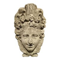 A Decorative French Fountain Mascaron in Reconstituted Stone