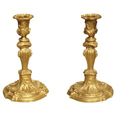 Pair of French Louis XV Style Gilt Bronze Candlesticks, 19th Century