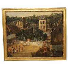 19th Century French Oil On Canvas Depicting a Religious Ceremony