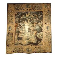 17th Century Flemish Tapestry of Forested Countryside, Wool and Silk, Circa 1680