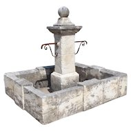 Carved Rectangular Limestone Center Fountain from Provence, France