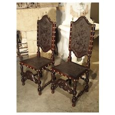 Pair of 19th Century Leather Side Chairs from Portugal