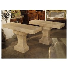 Pair of Carved Limestone Console Tables from the South of France