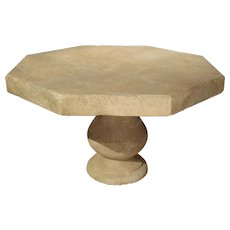 Carved Octogonal Limestone Table from Provence France