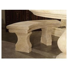 Small Carved Limestone Garden Bench from Provence, France