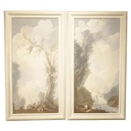 Pair of Framed 19th Century Vertical Landscapes- Hand Painted Paper on Board