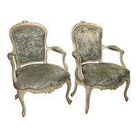 Pair of Period French Louis XV Blue and Cream Lacquered Cabriolet Armchairs