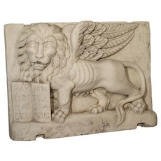 Carved Marble Wall Plaque from Italy-The Winged Lion of Venice