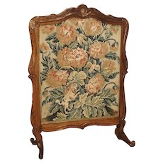 Period Louis XV Walnut Wood and Tapestry Firescreen from France