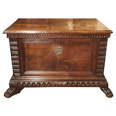 Small 17th Century and Later Walnut Wood Trunk from Northern Italy