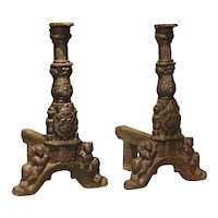 Pair of 16th Century Chateau Fireplace Andirons from France