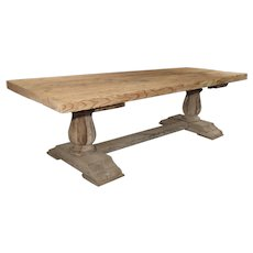 Large Rectangular French Farm Table in Oak and Pine, C. 1940s